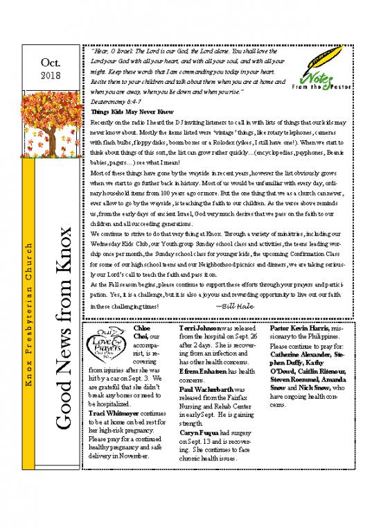 newsletter OCT 2018